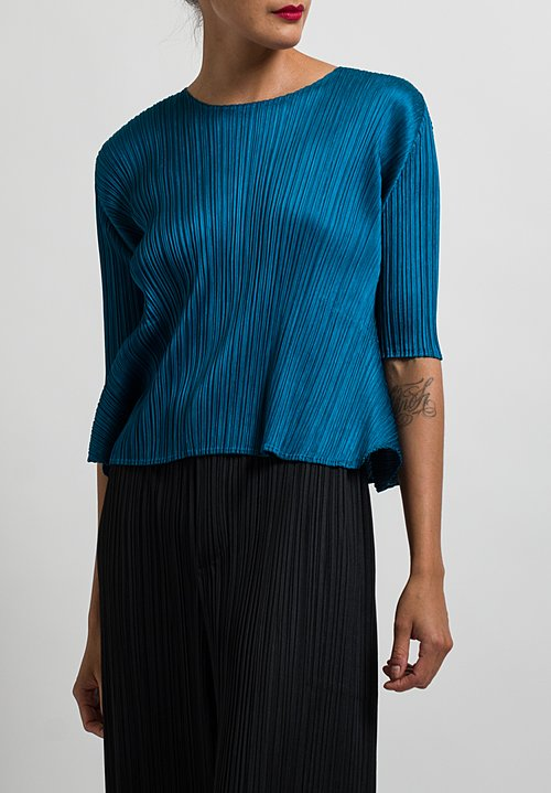 Issey Miyake Pleats Please Luster Top in Blue
