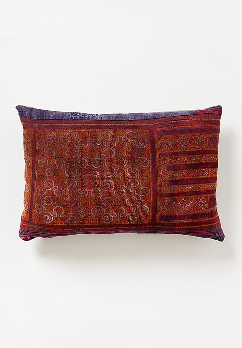 Antique Hmong Lumbar Pillow in Red Swirls