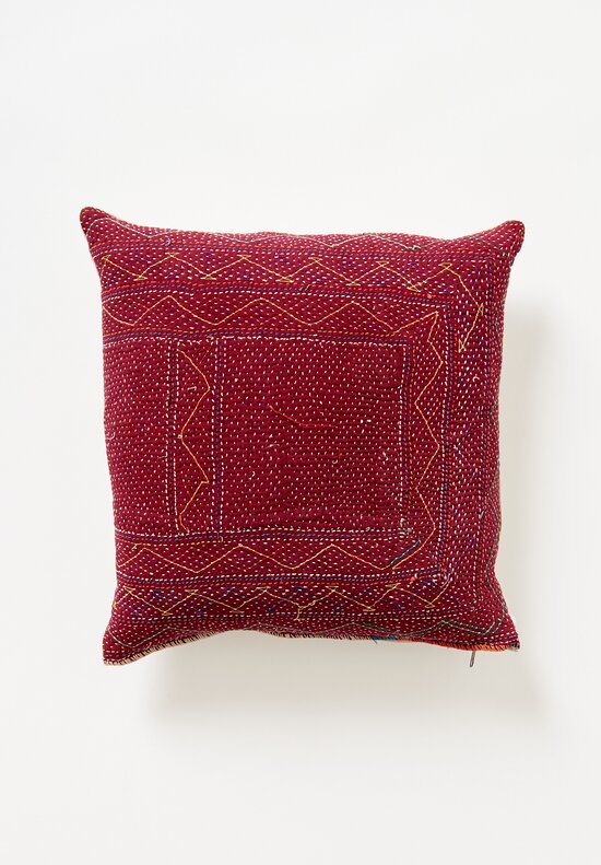 Antique and Vintage Saami Quilt Square Pillow in Red