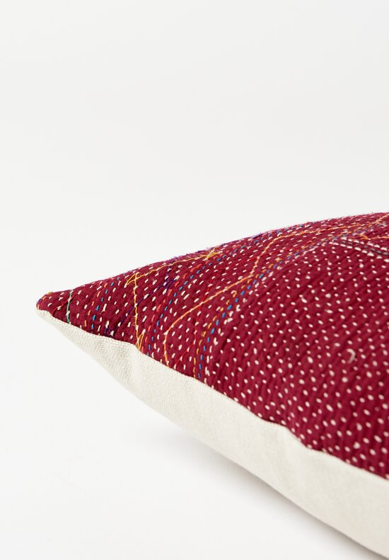 Antique Saami Quilt Square Pillow in Red Square