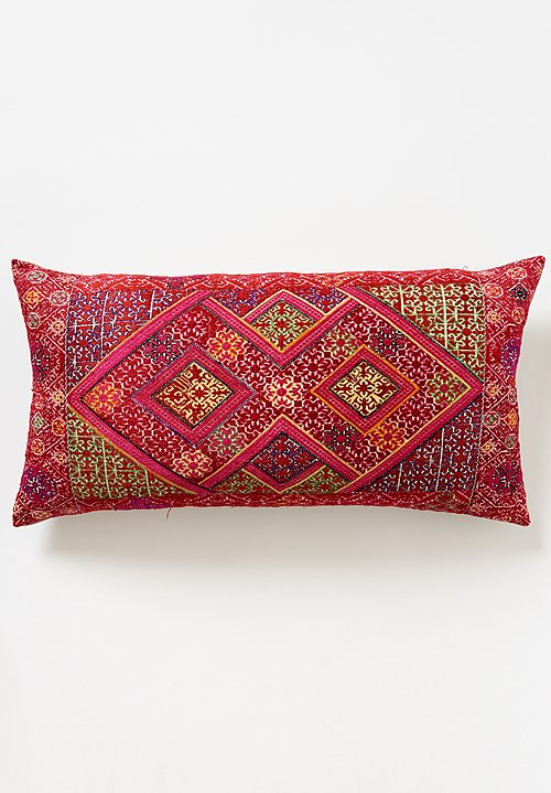 Antique Swati Lumbar Pillow in Red Diamond #2