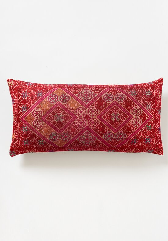 Antique Swati Lumbar Pillow in Red Diamond 3
