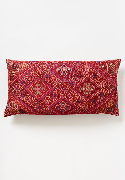 Antique Swati Lumbar Pillow in Red Diamond 4