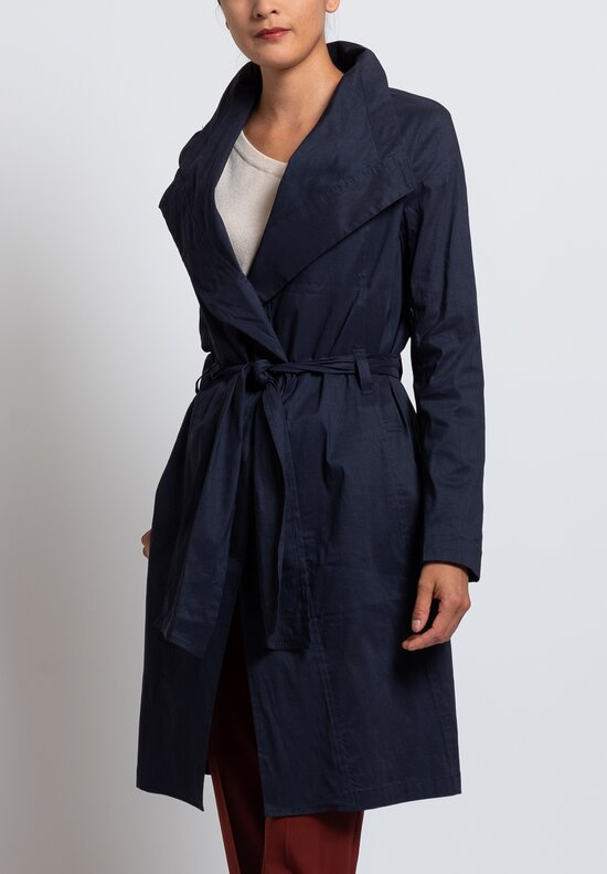 Peter O. Mahler Stretch Linen Tie Coat in Navy
