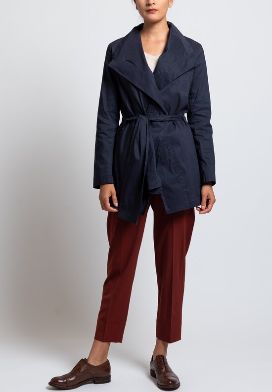 Peter O. Mahler Stretch Linen Long Tie Jacket in Navy