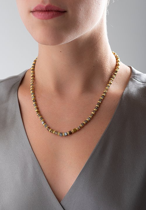 Karen Melfi 18k, Double Gold & Diamond Necklace