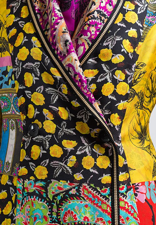 Etro Silk Twill Floral Multi-Print Coat in Yellow Multi
