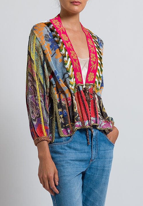 Etro Loose-Knit Cardigan with Fringe in Multicolor