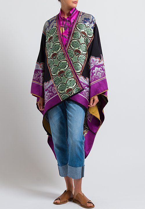 Etro Wool Blend Multi-Pattern Cape in Orange