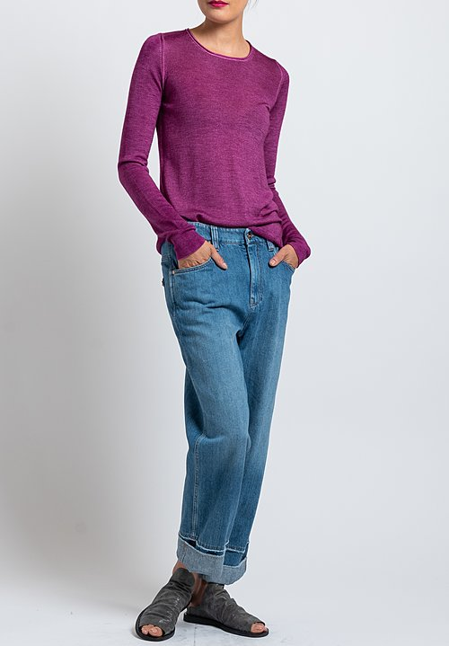Avant Toi Rolled Hem Sweater in Purple