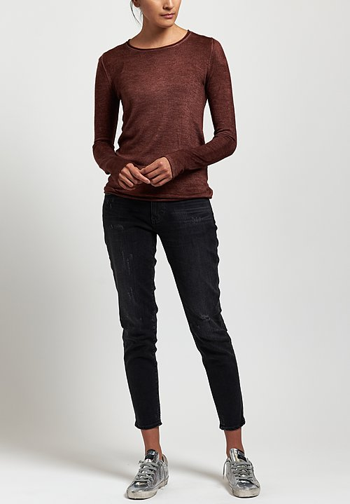 Avant Toi Rolled Hem Sweater in Brick
