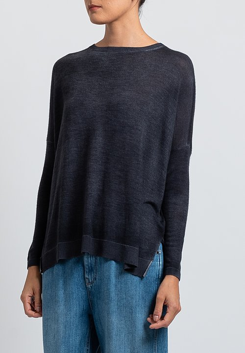 Avant Toi Cashmere/ Silk Relaxed Lightweight Sweater in Black