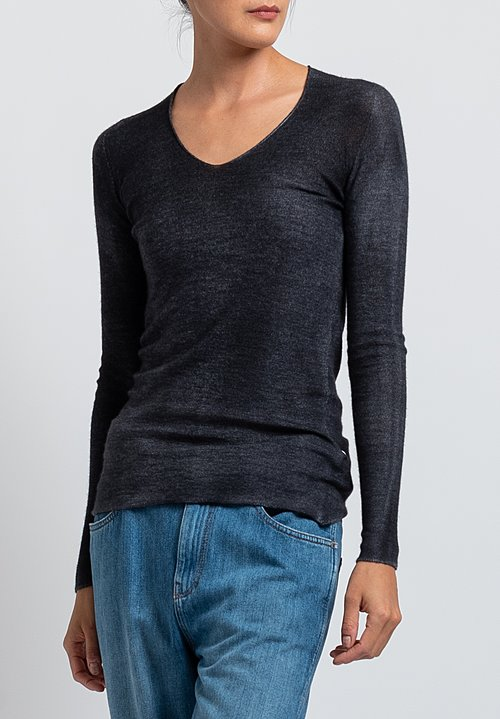 Avant Toi Hand-Painted V-Neck Sweater in Black