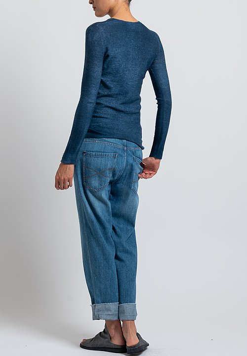 Avant Toi Hand-Painted V-Neck Sweater in Blue