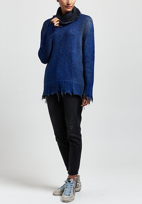 Avant Toi Destroyed Edge Turtleneck Sweater in Nero/China