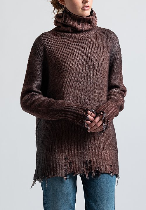 Avant Toi Destroyed Edge Turtleneck Sweater in Nero/ Brick