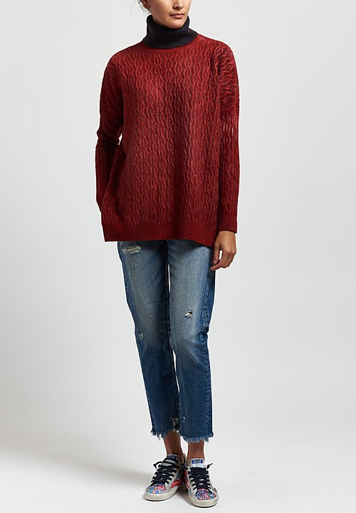 Avant Toi Cable Knit Sweater in Nero/Smalto Red