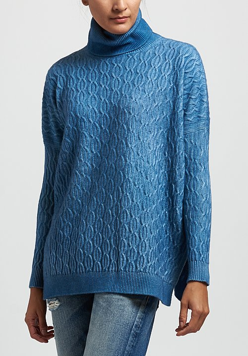 Avant Toi Cable Knit Sweater in Deep Light Blue