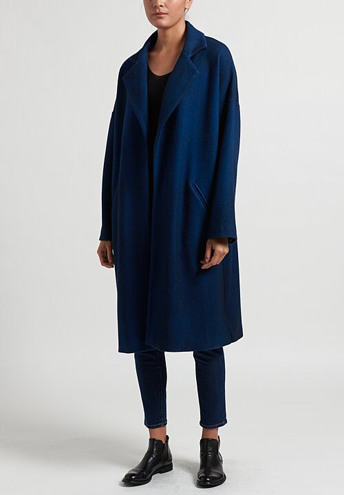 Avant Toi Felted Notch Lapel Long Coat in Deep