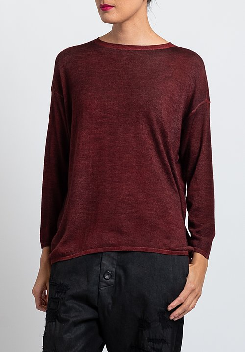 Avant Toi Lightweight Barchetta Sweater in Maroon
