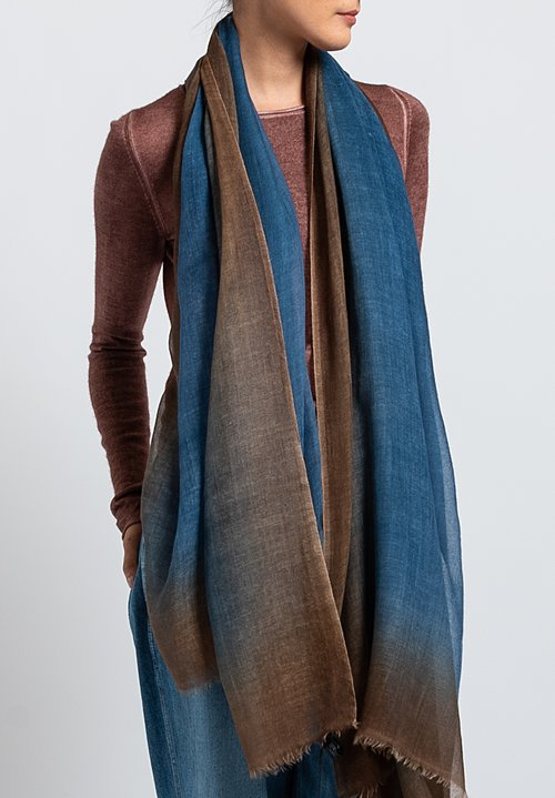 Avant Toi Cashmere Ombre Border Scarf in Deep
