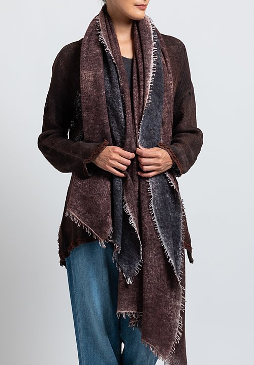 Avant Toi Cashmere Felted Stained Scarf in Nero / Brick