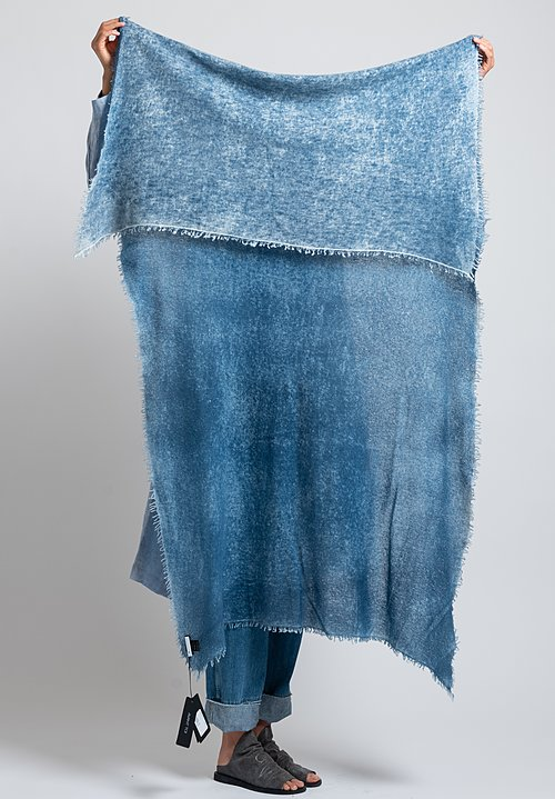 Avant Toi Cashmere Felted Stained Scarf in Deep Blue