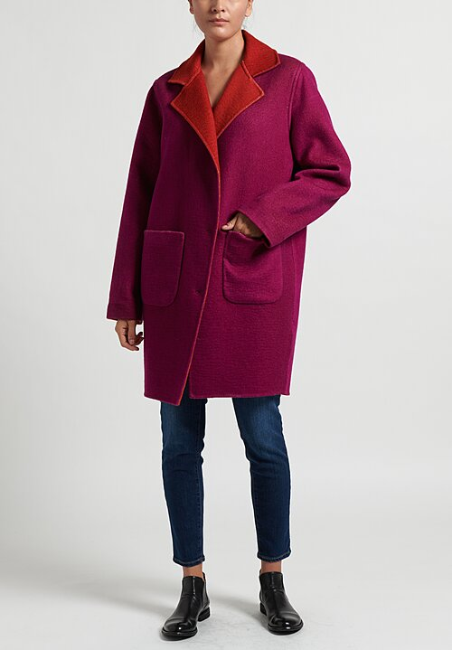 Avant Toi Reversible Coat in Magenta/ Paprika