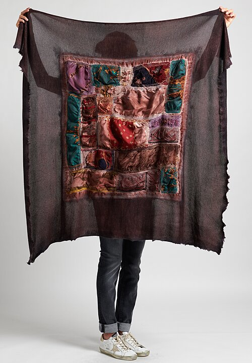 Avant Toi Silk Cashmere Felted Patchwork Scarf in Brick Brown