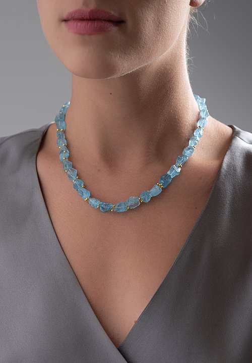 Greig Porter 18k, Rough Aquamarine Necklace
