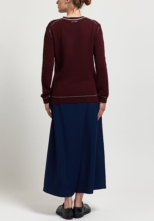 Marni Cashmere Crew Neck Sweater in Burgundy