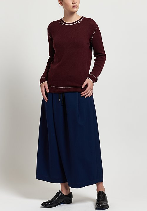 Marni Tropical Wool Wide Leg Pants in Light Navy