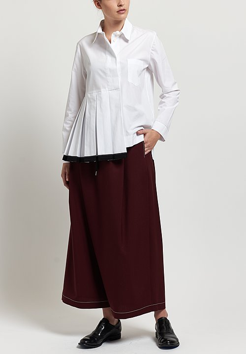 Marni Tropical Wool Wide Leg Pants in Dark Burgundy