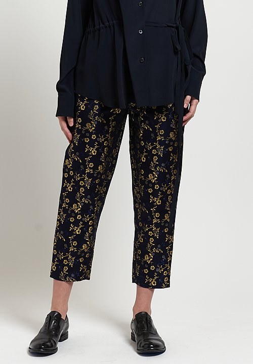 Marni Floral Jacquard Pants in Night Blue