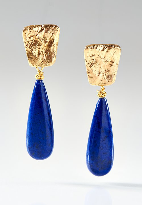 Greig Porter 22K, Lapis Teardrop Post Earrings