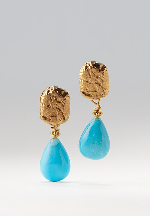 Greig Porter 22K, Turquoise Teardrop & Textured Post Earrings