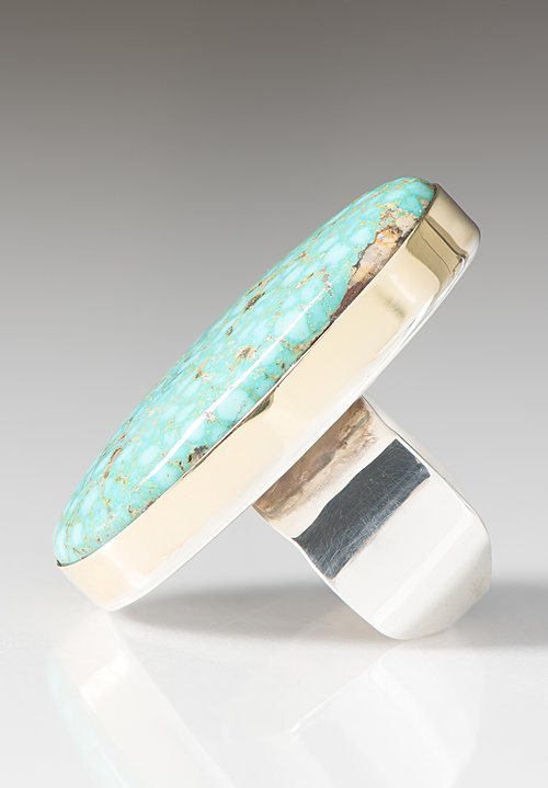 Greig Porter 18K, Large Oval Kingman Turquoise Ring with Sterling Silver Band