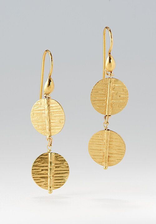 Greig Porter 18K, 2-Drop Textured Disk Earrings