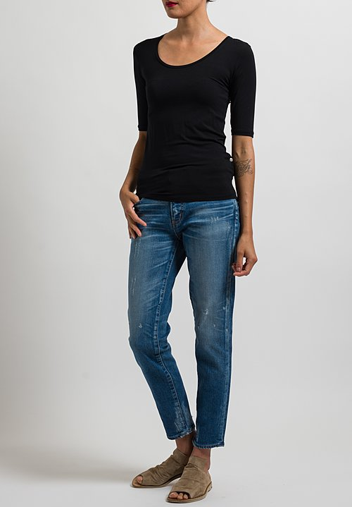 Majestic Elbow Sleeve Top in Black