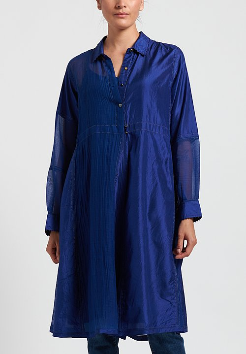Péro Paneled Button-Down Tunic in Cobalt