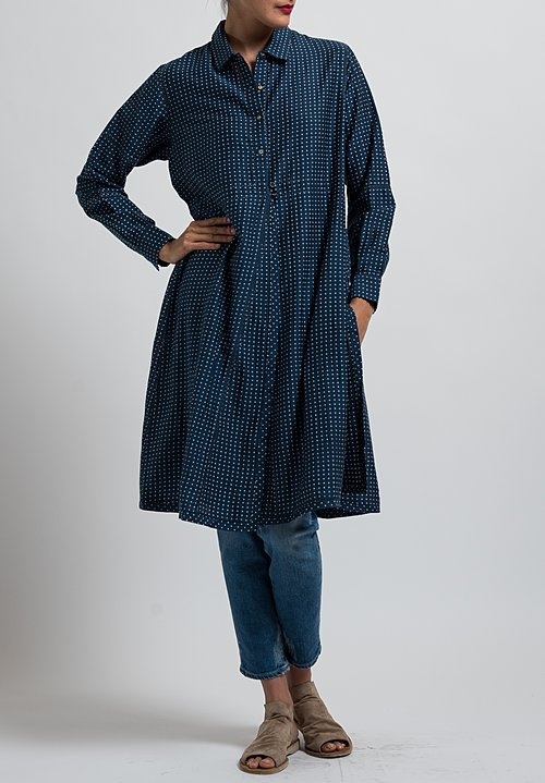 Péro Button-Down Polka Dot Tunic in Blue/Grey