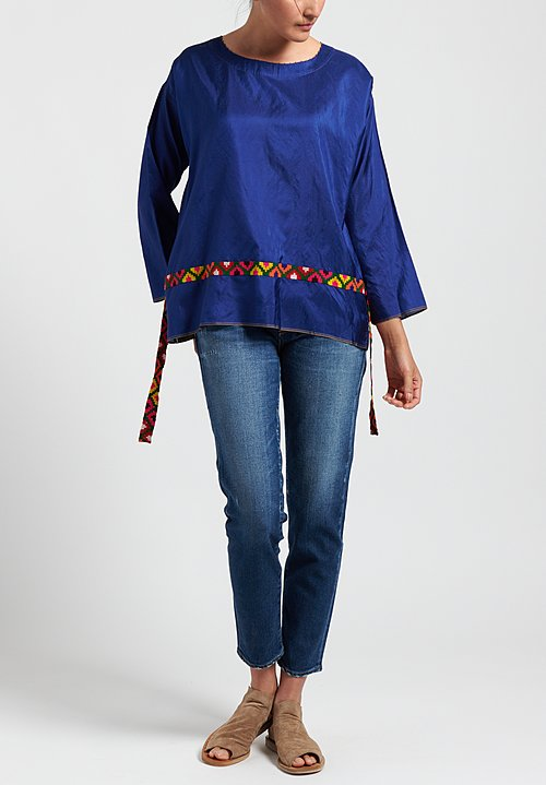 Péro Ribbon Accent Top in Cobalt/ Multi Ribbon