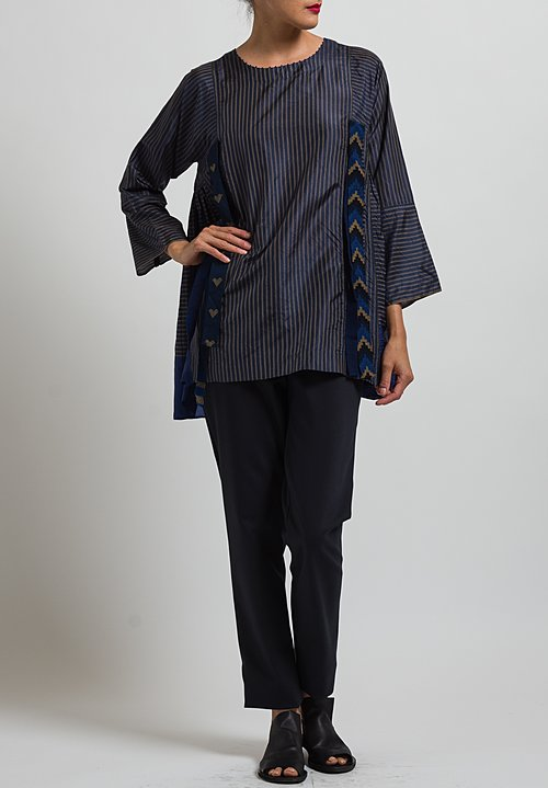 Péro Long Pencil Stripe Top with Ribbons in Blue/ Sand