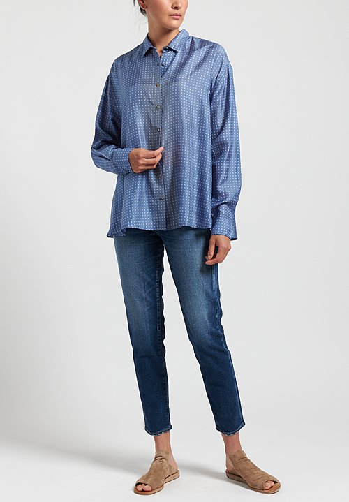 Péro Oversized Polka Dot Shirt in Blue Grey/ White