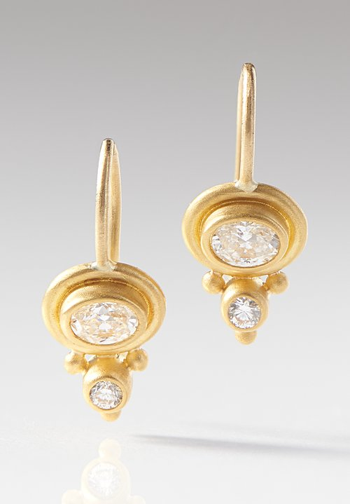 Denise Betesh 22K, Double Diamond Bezel Earrings