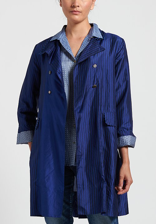 Péro Striped Double Breasted Jacket in Navy/ Black