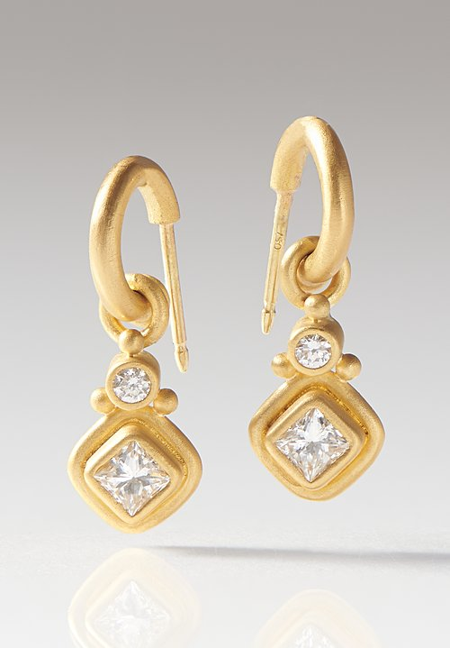 Denise Betesh 22K, Diamond S-Hoop Earrings