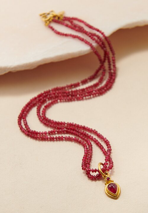 Denish Betesh 22K, Red Spinel Bead Double Strand Necklace