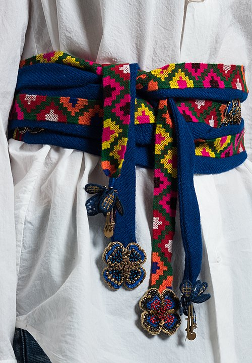Pero Multi-Fabric Woven Belt in Cobalt Multi
