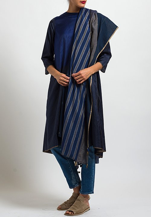 Péro Cotton Striped and Dotted Rectangle Lungi Scarf in Blue / Sand